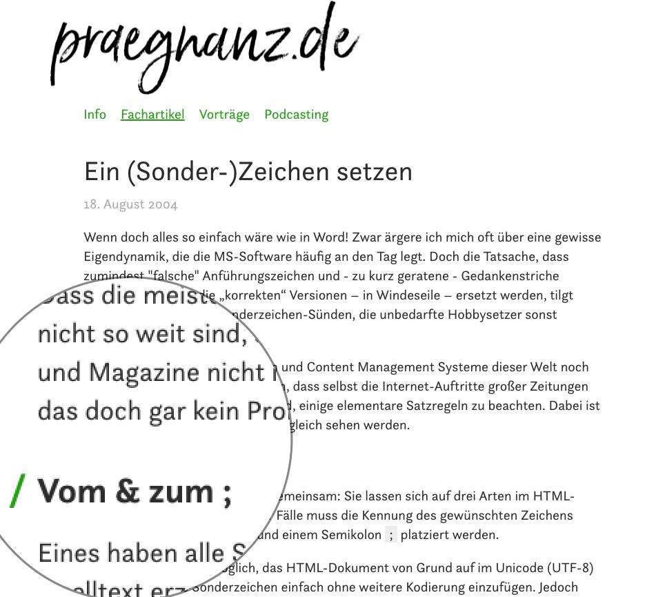 Sonderzeichen setzen - praegnanz.de
