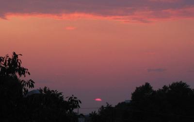 Sonnenuntergang über der Rheinebene