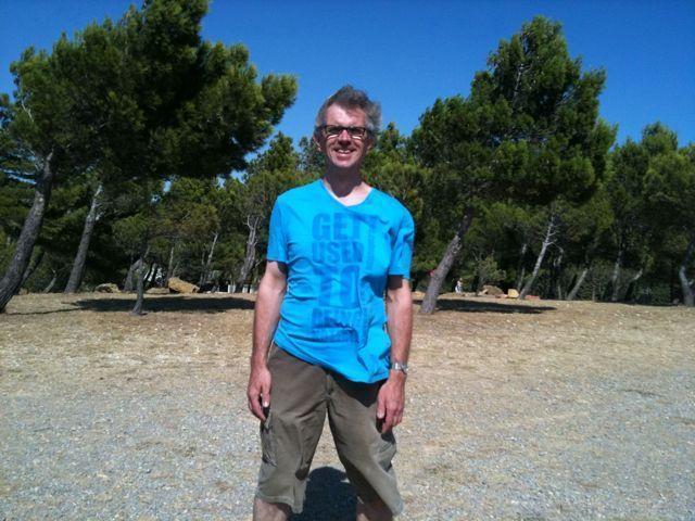 Carsten auf dem windigen Campingplatz