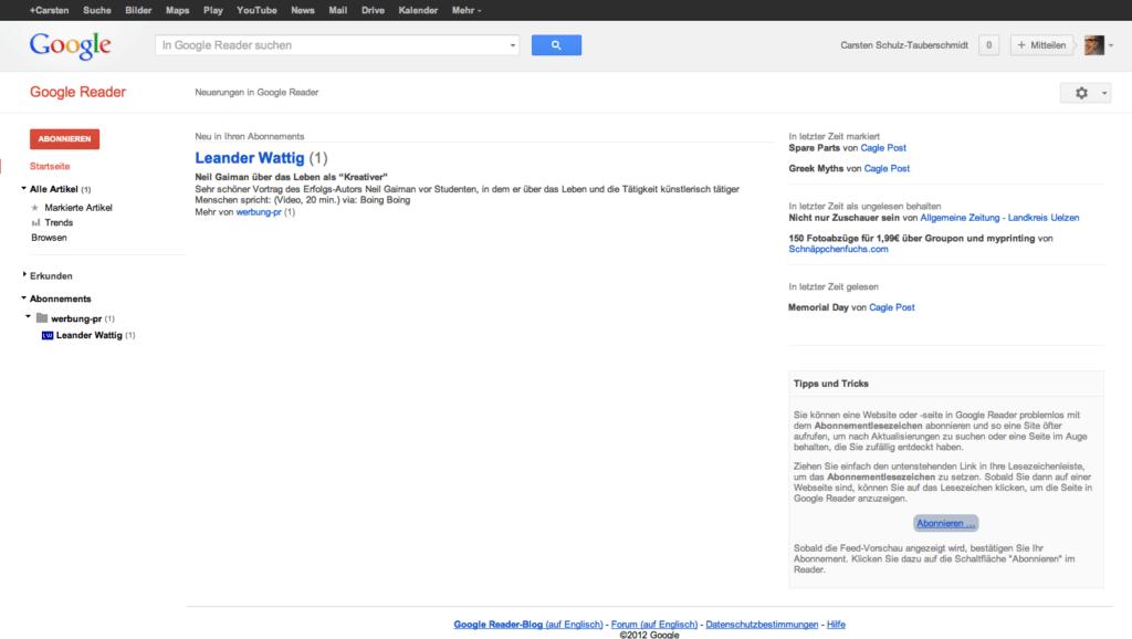 Screenshot Google Reader