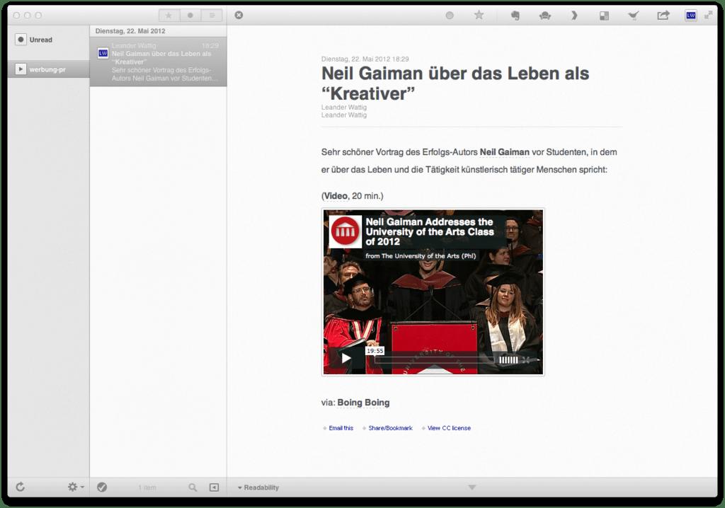"Screenshot aus der Mac-App ""Reeder"""