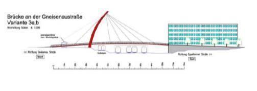 Geplantes Aussehen einer der Fahrradbrücken (hier der zur Gneisenaustraße)
