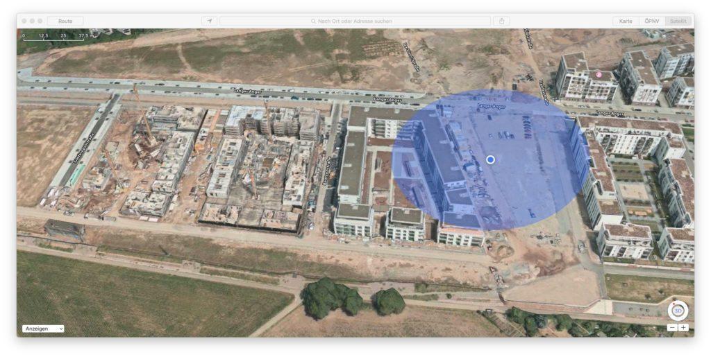Luftaufnahmen in Apple Maps