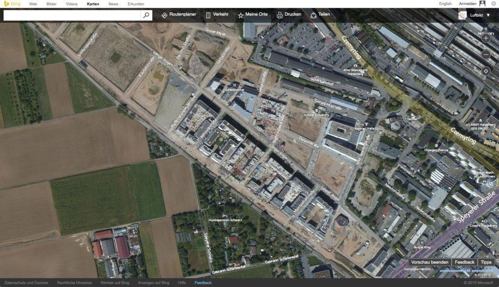 Die Bahnstadt in Bing Maps