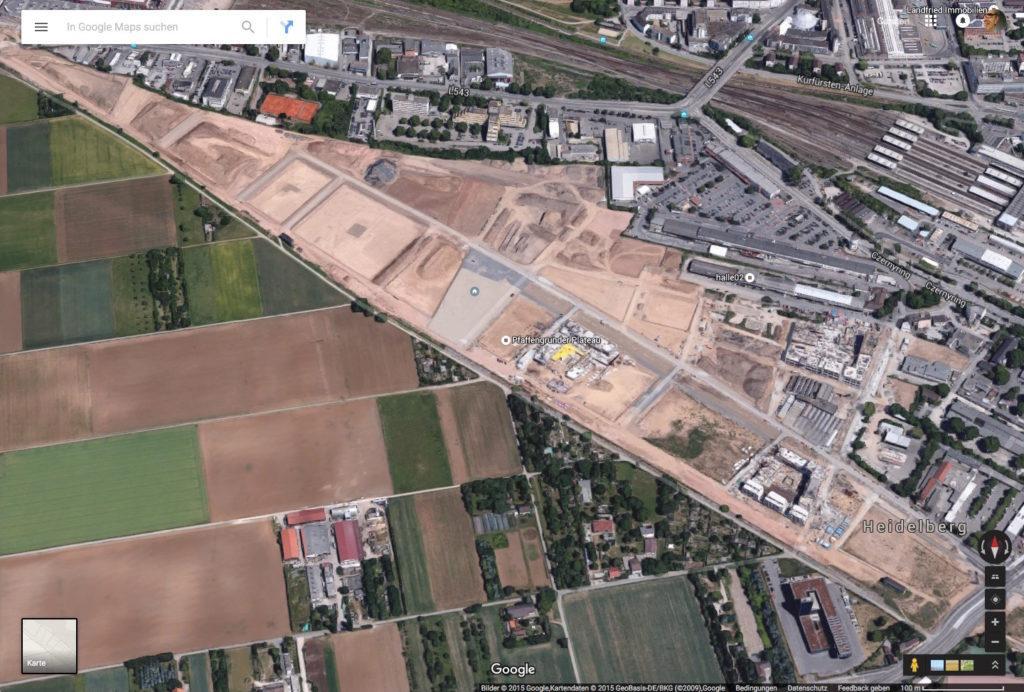 völlig veraltete Ansicht der Bahnstadt in Google Maps