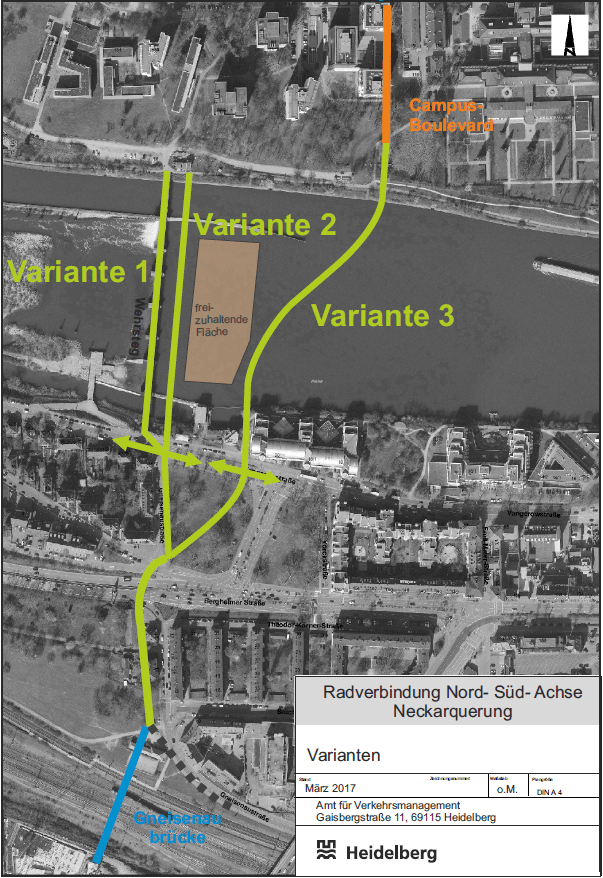 Varianten zur neuen Fahrradbrücke über den Neckar