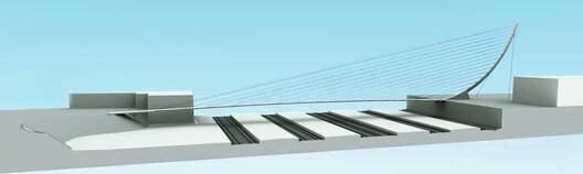Entwurf für eine Fahrradbrücke am Hauptbahnhof Heidelberg von der Bahnstadt nach Bergheim