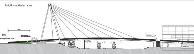 Die vorgesehene Schrägseilbrücke von der Bahnstadt zur Gneisenaustraße in Bergheim - Bildquelle: Stadt Heidelberg